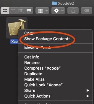 screenshot of the context menu